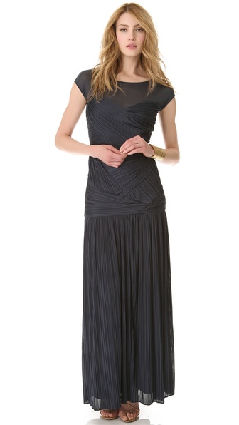 Halston Heritage Sheer Shoulder Pleat Gown