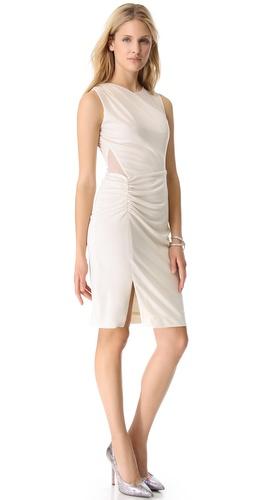 Halston Heritage Sheer Contrast Dress