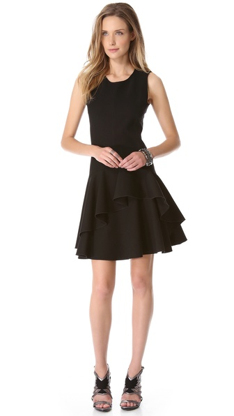 Halston Heritage Scoop Neck Ruffle Dress