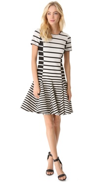 Halston Heritage Stripe Flare Dress
