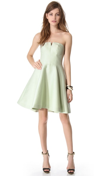 Halston Heritage Structured Strapless Dress