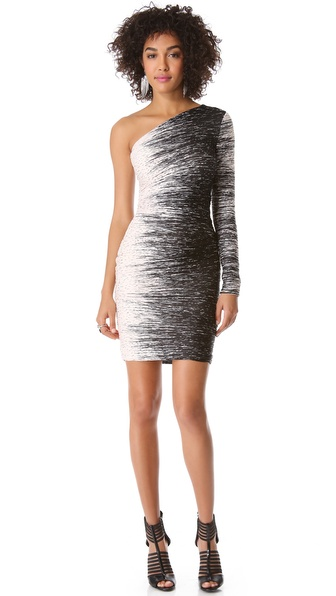 Halston Heritage One Sleeve Ruched Dress