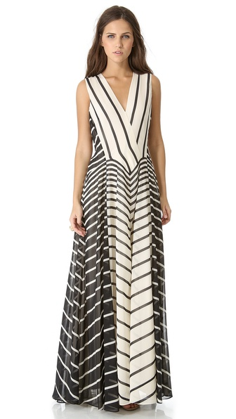 Halston Heritage A Line Stripe Gown