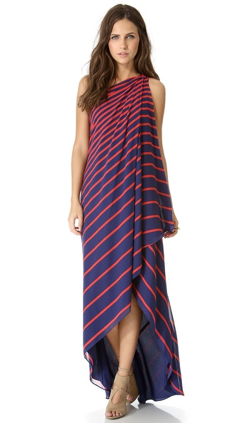 Halston Heritage One Shoulder Stripe Gown