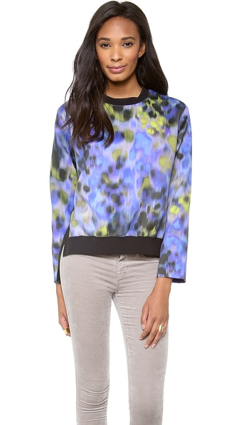 Halston Heritage Printed Sweatshirt Blouse