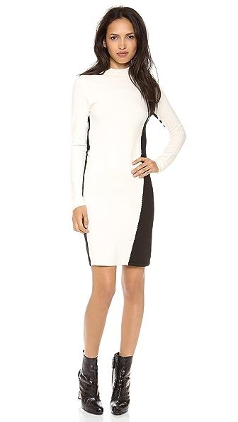 Halston Heritage Mock Neck Colorblock Sweater Dress