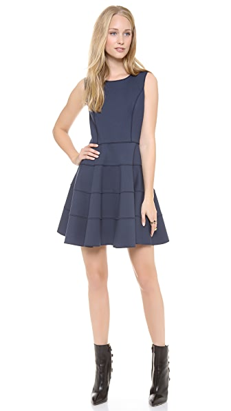 Halston Heritage Flare Skirt Ponte Dress