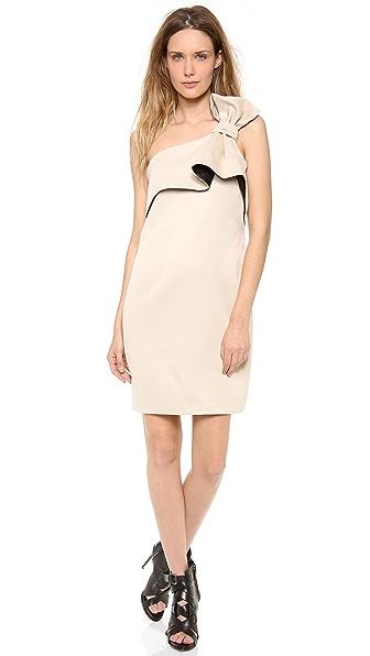 Halston Heritage One Shoulder Bow Dress