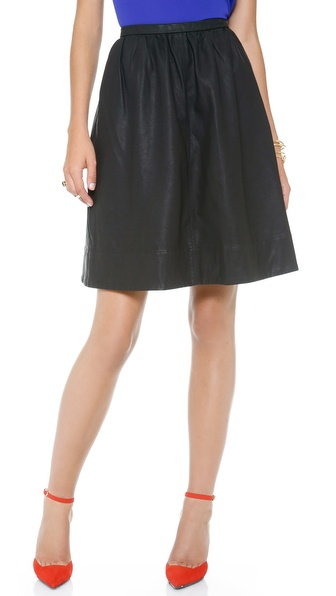 Halston Heritage Faux Leather Skirt