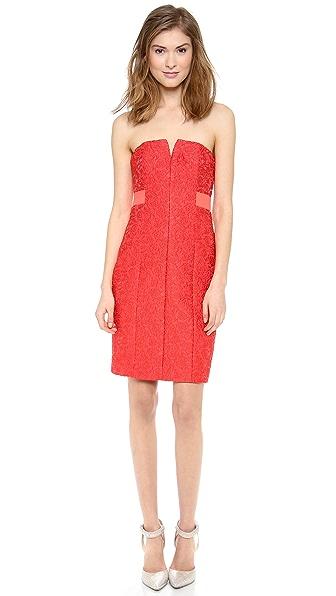 Halston Heritage Strapless Jacquard Dress