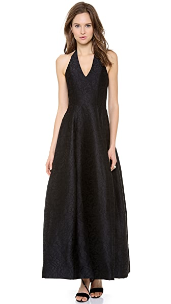 Halston Heritage Halter Jacquard Gown with Tulip Skirt