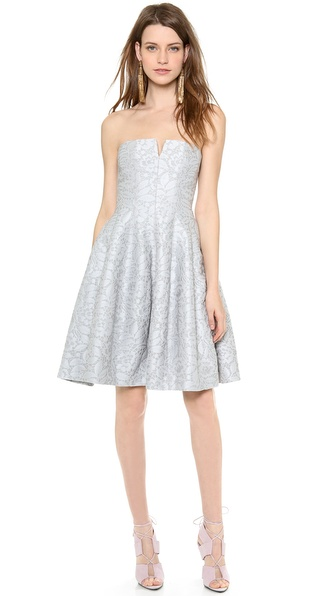 Halston Heritage Strapless Tulip Skirt Dress