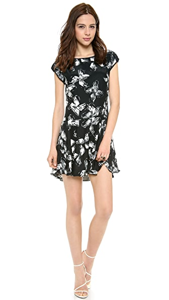 Halston Heritage Cap Sleeve Print Dress