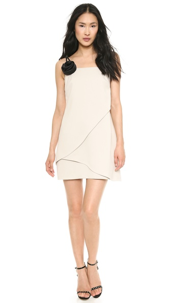 Halston Heritage One Shoulder Dress with Removable Flower