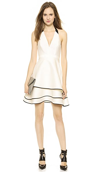 Halston Heritage Layered Skirt Halter Dress