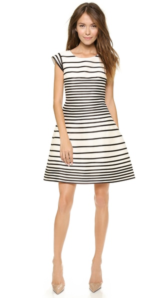 Halston Heritage Cap Sleeve Stripe Dress