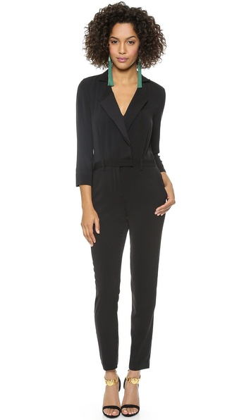 Halston Heritage Long Sleeve Lapel Jumpsuit - Black