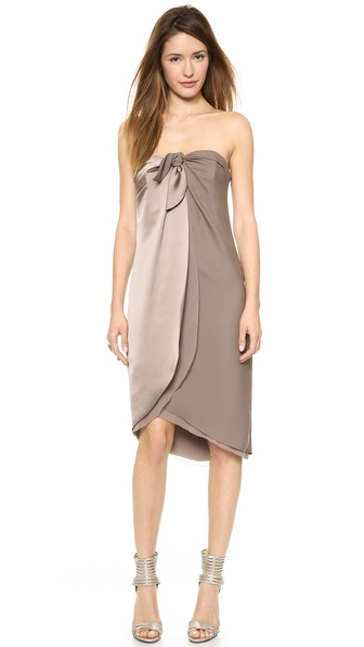 Halston Heritage Strapless Wrap Dress