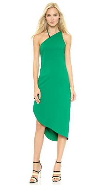 Halston Heritage Asymmetrical Neck Dress w Hardware