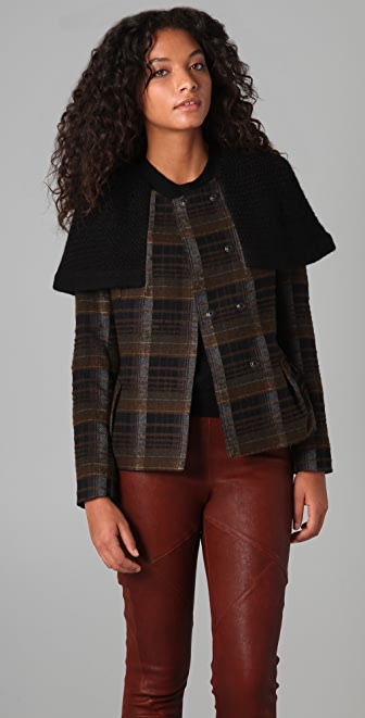 Hanii Y Plaid Coat with Knit Cape