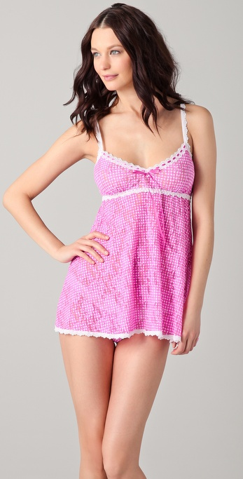 Hanky Panky Gingham Babydoll with G-String
