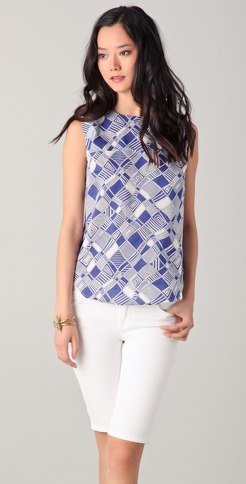 Harvey Faircloth Sleeveless Printed Tank