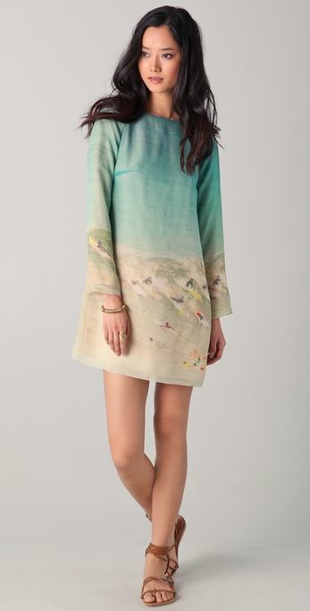 Harvey Faircloth Surf Printed Long Sleeve Dress