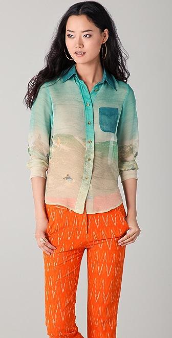 Harvey Faircloth Surf Print Button Down Shirt
