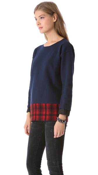 Harvey Faircloth Terry & Plaid Tunic