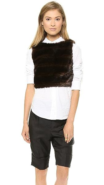 Harvey Faircloth Faux Fur Crop Top