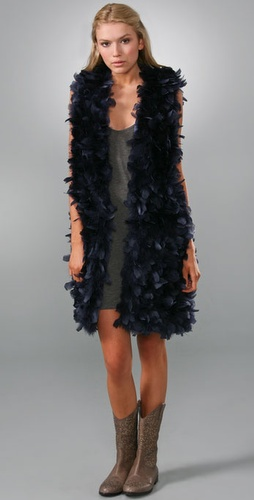 Haute Hippie Elongated Feather Vest