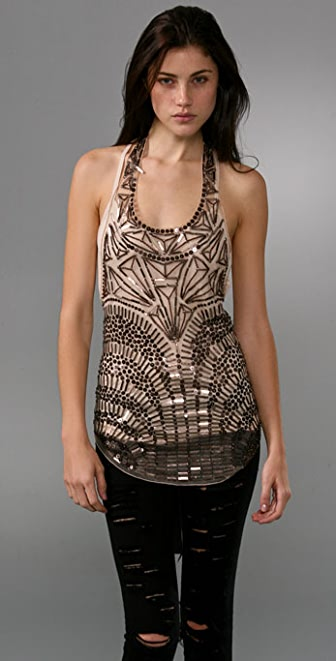 Haute Hippie Armor Embroidered Mesh Top