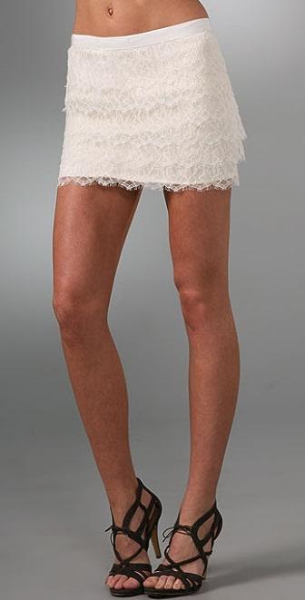Haute Hippie Tiered Lace Miniskirt