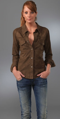 Haute Hippie Suede Western Shirt