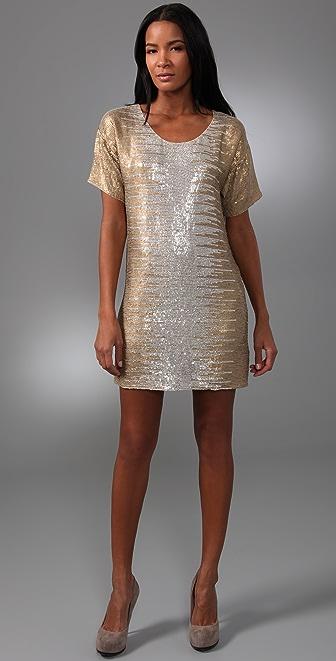 Haute Hippie Metallic Ombre Mini Dress