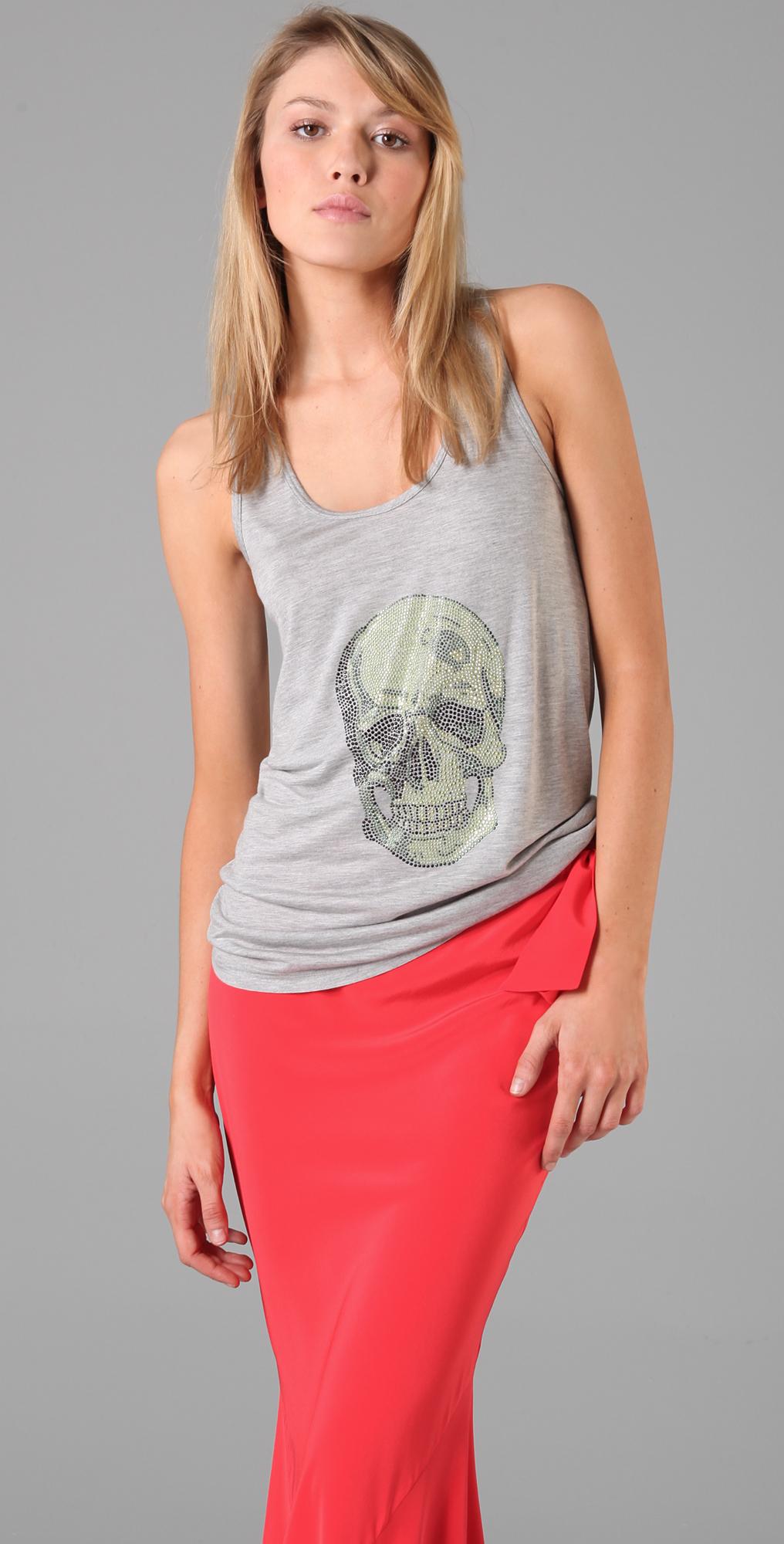 Haute Hippie Trish Tank with Rhinestone Skull