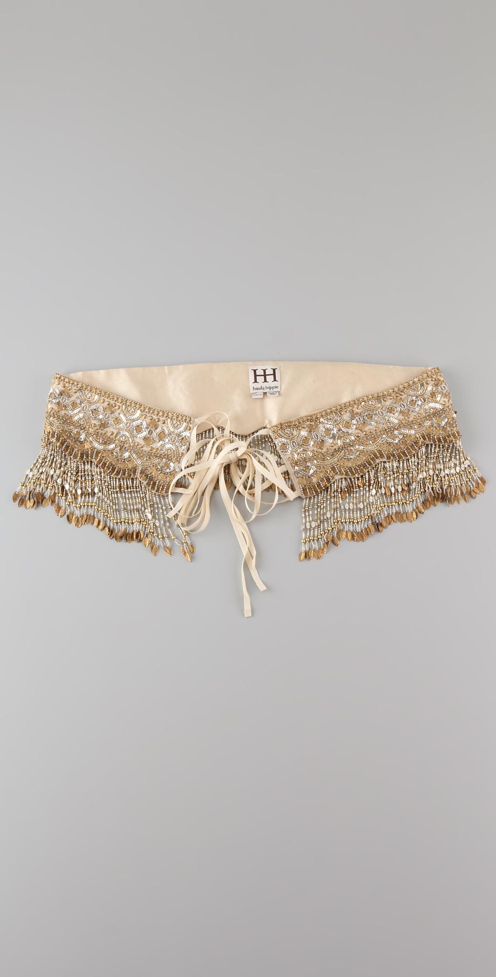 Haute Hippie Embellished Fringe Belt