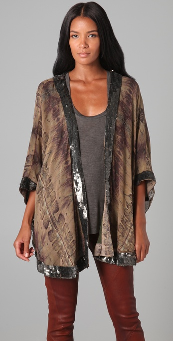 Haute Hippie Sequin Trim Printed Cape