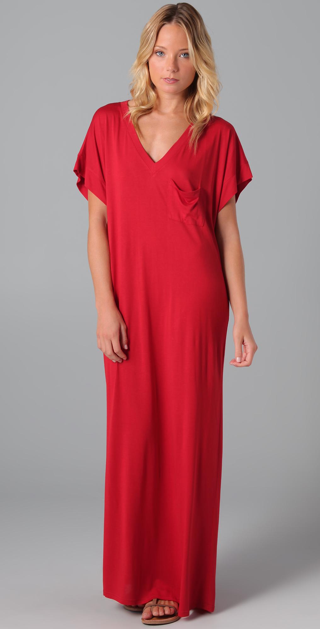 Haute Hippie Long V Neck Pocket Dress
