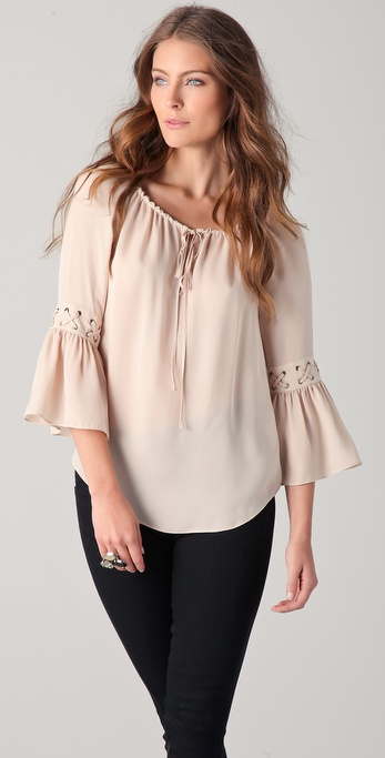 Haute Hippie Peasant Top with Eyelets