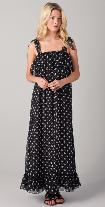 Haute Hippie Flirty Ruffle Polka Dot Maxi Dress