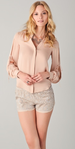 Haute Hippie Open Sleeve Blouse