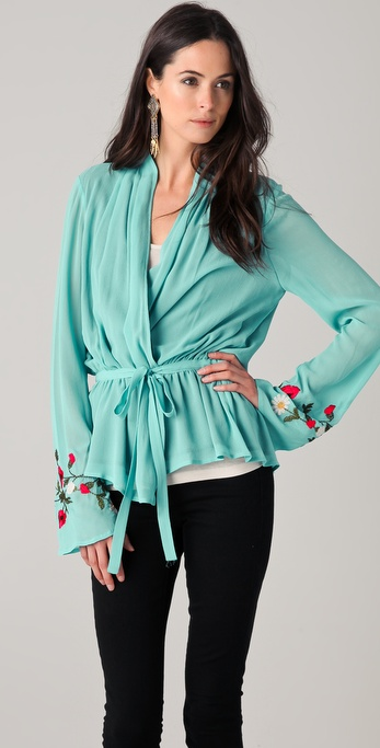 Haute Hippie Embroidered Jouse Blouse