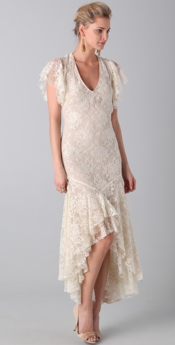 Haute Hippie Flutter Sleeve Lace Dress
