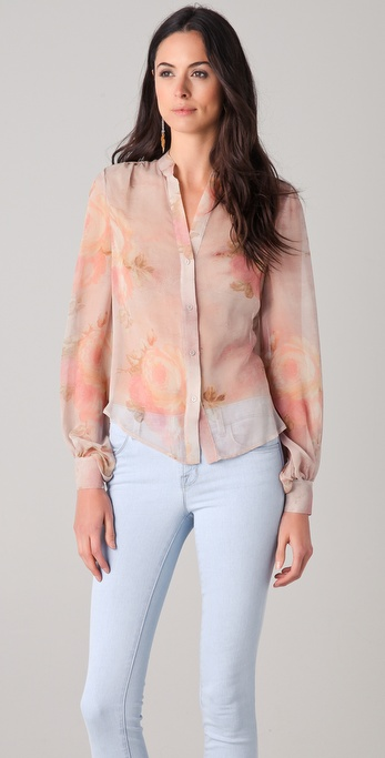 Haute Hippie Floral Button Down Blouse