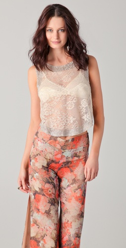 Haute Hippie Lace Beaded Crapin Top