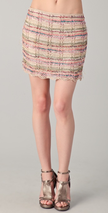 Haute Hippie Mixed Yarn Miniskirt