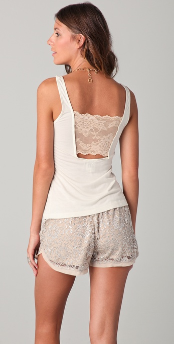 Haute Hippie Tank with Lace Back