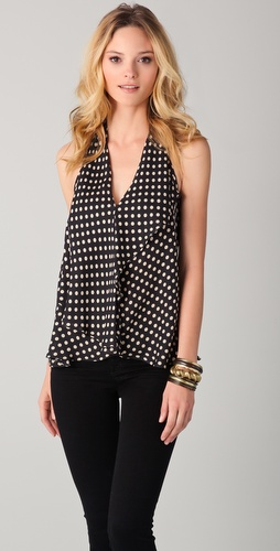 Haute Hippie Polka Dot Halter Top