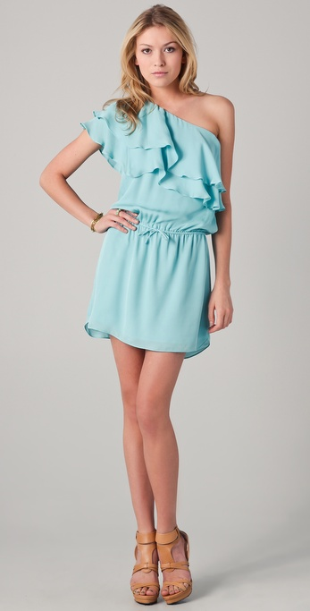 Haute Hippie One Shoulder Ruffle Dress